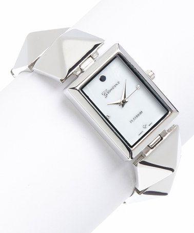 This Silver Pyramid Bracelet Watch is perfect! #zulilyfinds