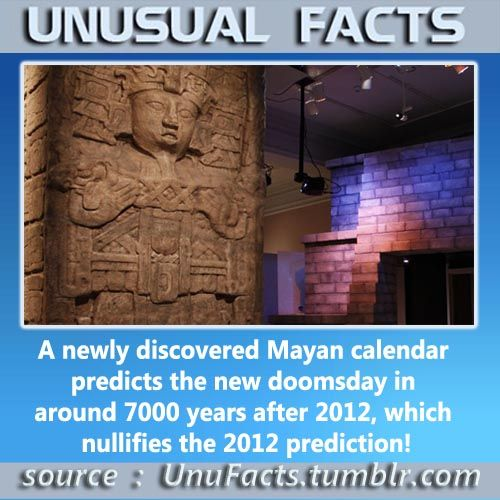 A newly discovered Mayan calendar predicts the new doomsday in around 7000 years after 2012, which nullifies the 2012 prediction!