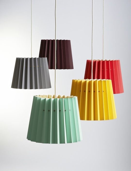 Modern cool colors on these paper pleated lampshades
