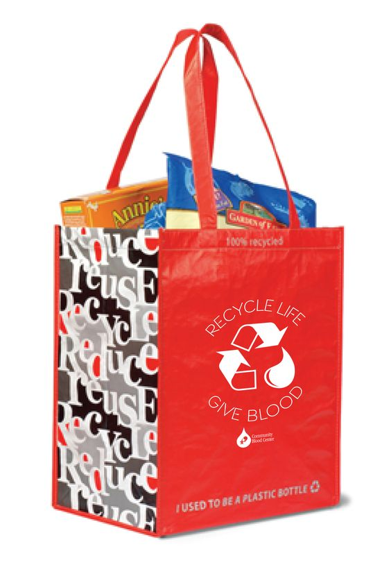 "Everyone who registers to donate April 6 - May 2 will receive a free ""Recycle Life - Give Blood"" grocery tote which is a nod to ""Earth Day 2015"" celebrated April 22. The bright red ""Recycle - Give Blood"" grocery tote bag is made completely from recycled materials."