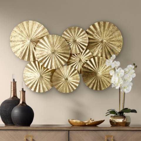 Dynasty 33 1 2 Wide Gold Fan Wall Art 8f472 Lamps Plus Gold Wall Decor Wall Fans Wall Art Gold Leaf