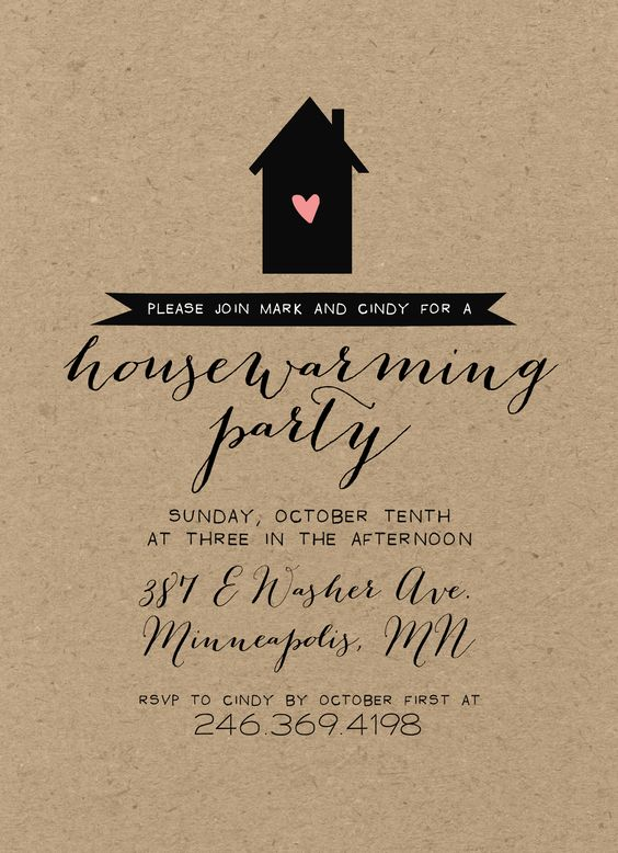 Kraft housewarming party invitation rustic shabby chic silhouette calligraphy my etsy - House warming blessing ...