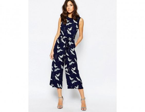 Jumpsuit con stampa uccelli