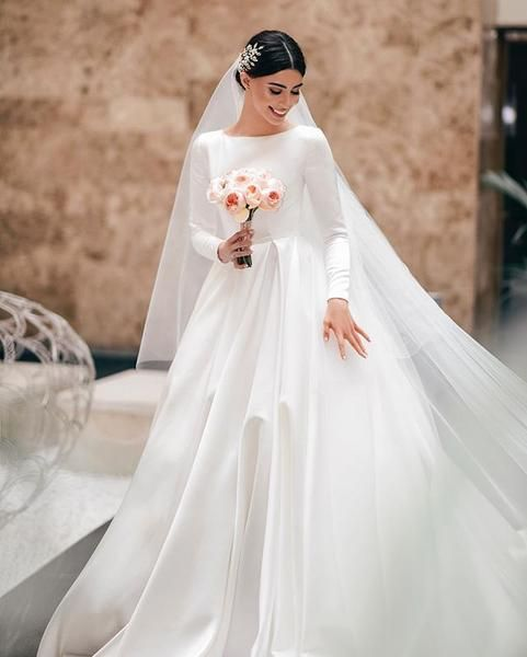 Elegant A Line Long Sleeve Simple Wedding Dresses Fc2027