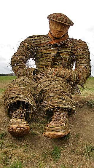 This wonderful woven willow giant sits on the bank at the northern end of the Woodland Trust's Low Burnhall wood near Durham city, North East England.