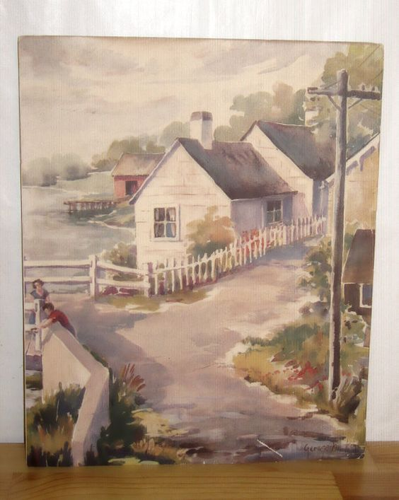 Art Print Watercolor Cottage on the Bay 9x11 by KathysVintageItems