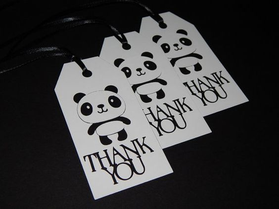 """Thank you"" tags for a birthday party or baby shower, $4.50 from www.pandathings.com"