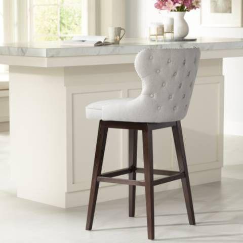 Ariana Light Gray Fabric 29 1 2 Swivel Barstool 1n597 Lamps Plus Bar Stools Grey Fabric Seating