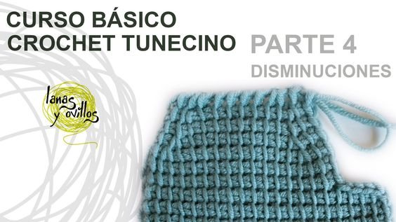 http://www.lanasyovillos.com Cuarta parte del curso básico de crochet tunecino, cómo hacer disminuciones. Encuentra muchos patrones de crochet en http://www....