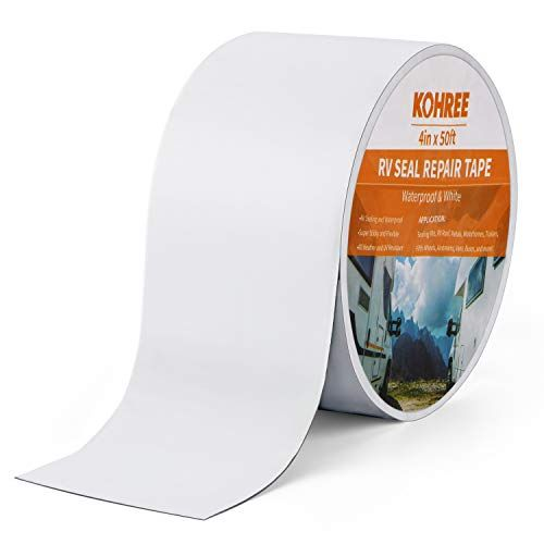 Kohree Rv Sealant Tape 4 Inch X 50 Foot Rv White Roof Seal Tape Uv Weatherproof Sealant Roofing Tape For Rv Repair Window Boat Sealing Truck Stop Camper R Roof