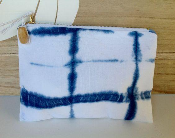 Micah 2 indigo shibori purse.  21cm x 16cm 8.4 by ivyandcodesigns