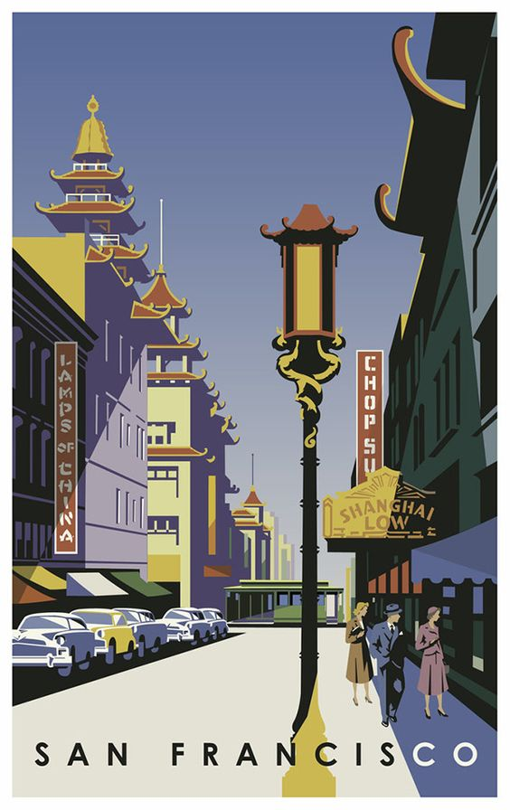 San francisco vintage travel poster by robdevenney in art Deco san francisco