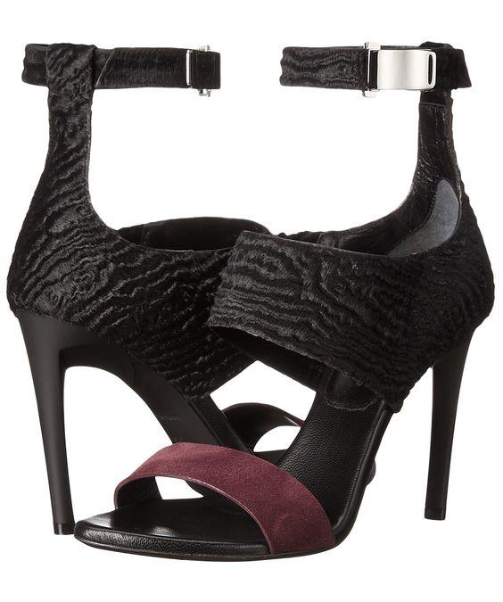 Proenza Schouler  Spring 2016 calf hair  strappy, heeled sandals.