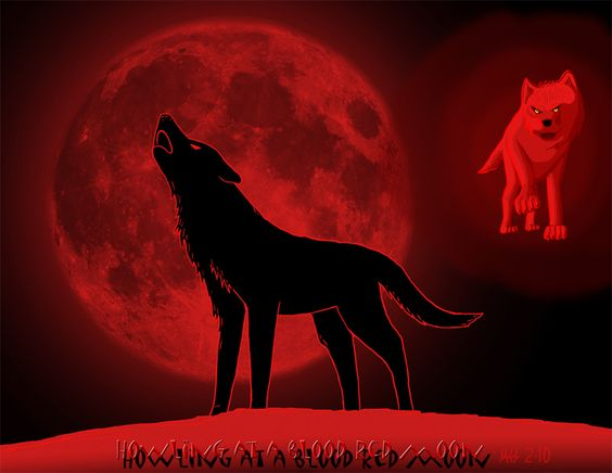 Image detail for -Howling at a blood red moon by *DragonWolfACe on deviantART
