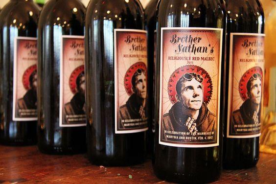 Steampunk wine label wedding favors.