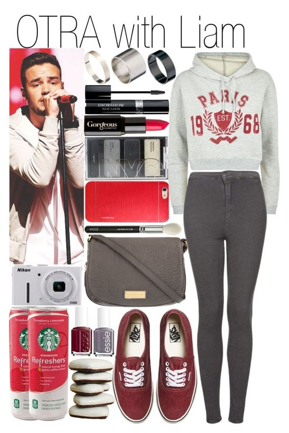 """OTRA with Liam"" by fashion-onedirection ❤ liked on Polyvore featuring Christian Dior, Marc by Marc Jacobs, Payne, Topshop, Just Acces, Gorgeous Cosmetics, Nikon, Vans and Essie"