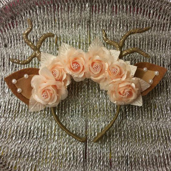 floral deer ears headband by mjisthebomb on etsy. Black Bedroom Furniture Sets. Home Design Ideas
