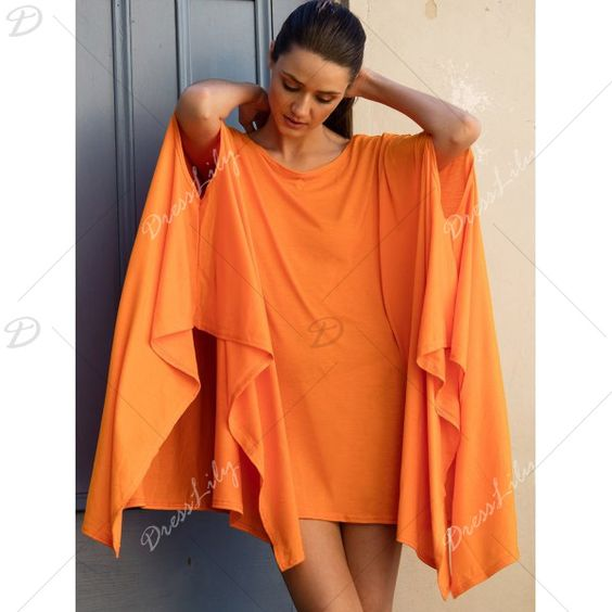 Charming Pure Color Batwing Sleeve Asymmetric Tops For Women, ORANGE, XL in Tops…