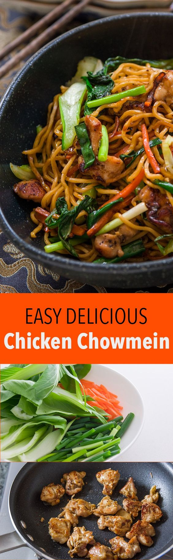 An easy Chicken Chow Mein recipe loaded with five spice marinated chicken and vegetables.: