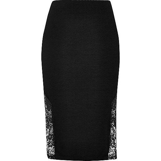 Viscose blend Lace side detail Side splits Pencil skirt