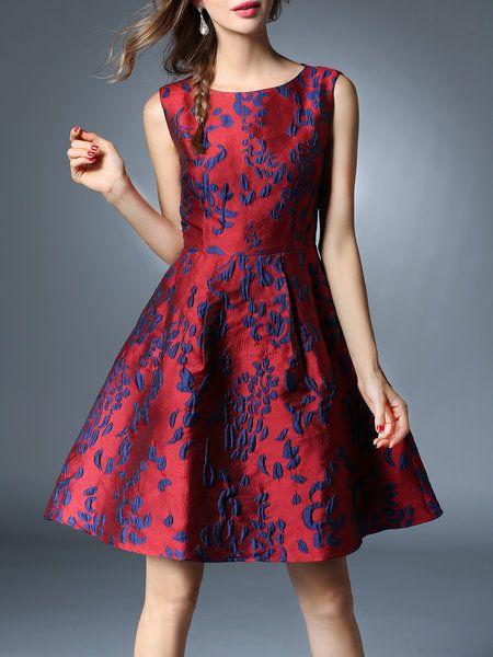 Crimson Jacquard Sleeveless Elegant Mini Dress