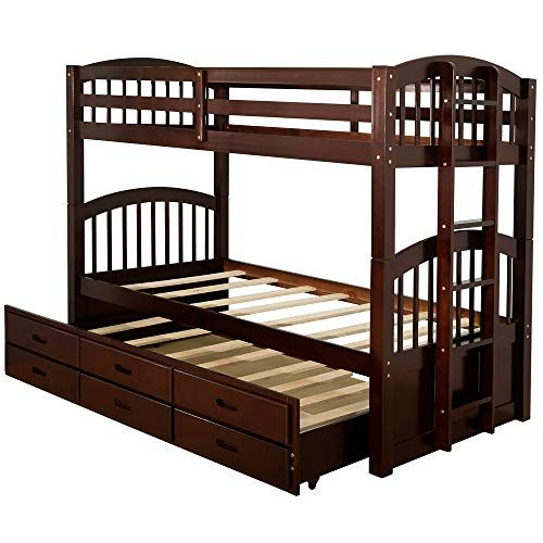 Bunk Beds Storage Wood Twin Over Twin With Safety Rail Ladder
