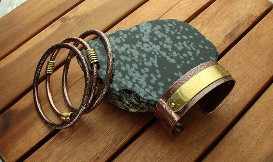 Kupfer Armreifen Armspangen Set, rustikal von Galadryl Schmuckdesign - Handgefertigter Silber- und Kupfer Schmuck auf DaWanda.com