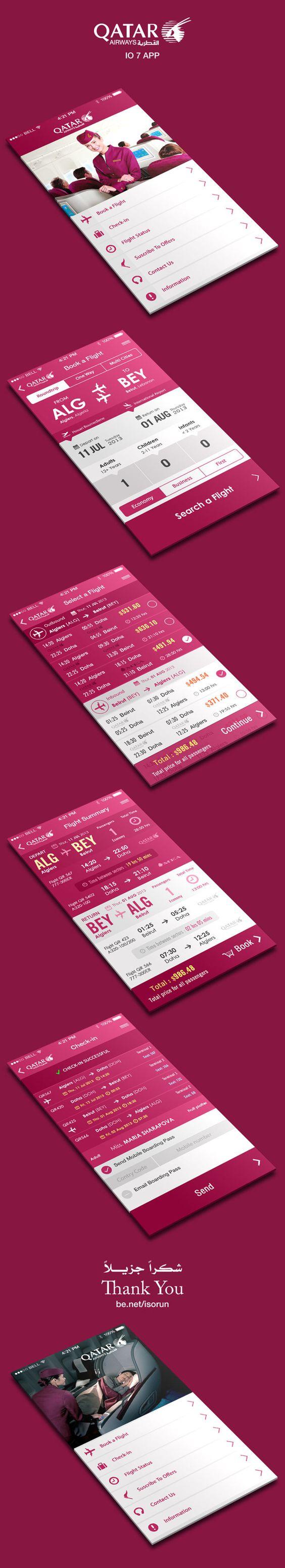 Flight Booking App IOS 7 by Yasser Achachi , via Behance