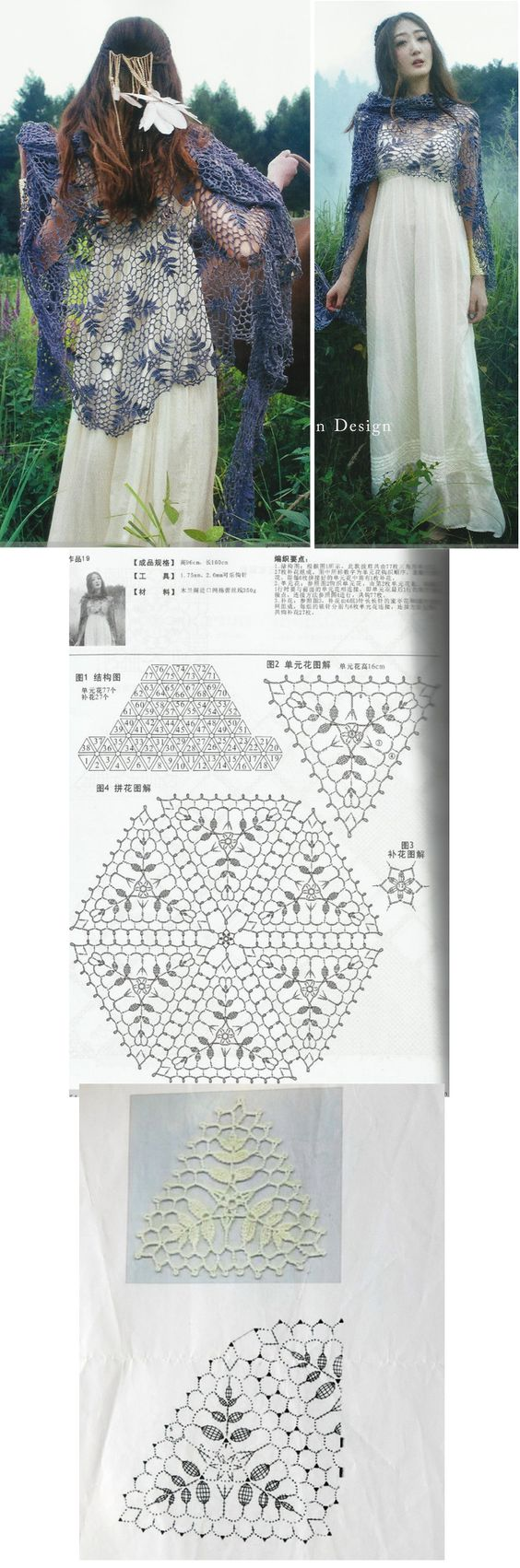lacy etheral crochet shawl made out of triangles! I have to make this! The only questions are who for and what colour :-)