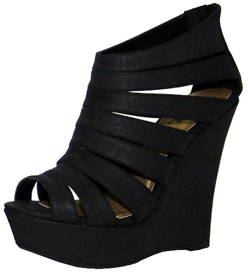 Strappy black platforms.: Shoes Wedges, Gladiator Wedges, Black Platform, Nice Shoes, Black Shoes, Shoe Wedges, Shoes Shoes, Black Wedges