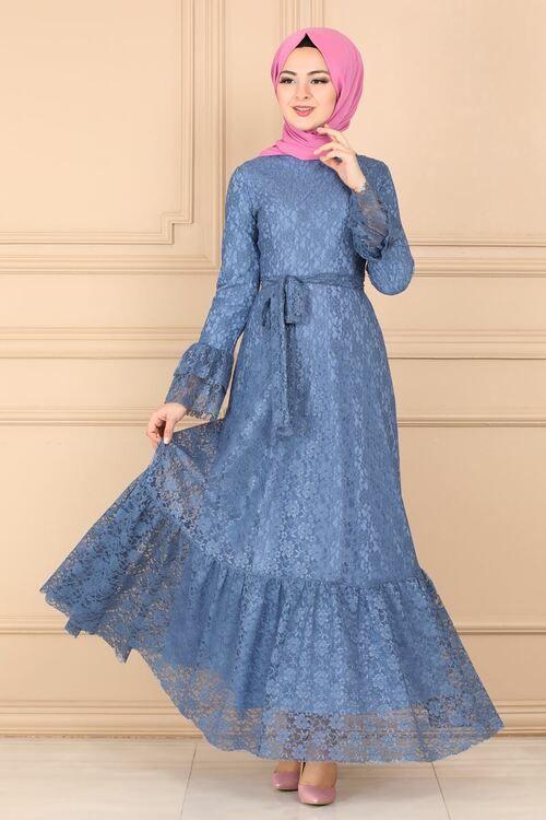 Modaselvim Elbise Etegi Firfirli Dantel Elbise 5171ay342 Mavi Dantel Elbise The Dress Elbise
