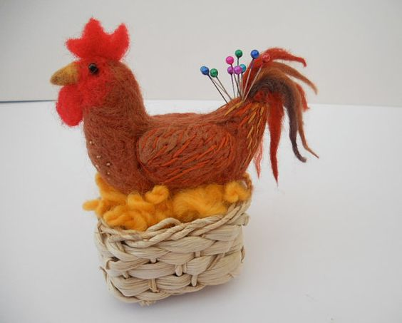 Henny Pinny a Chicken in a Basket Pin Cushion A Needle Easter Gift by SooSun, $33.00