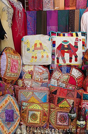 Decorative patchwork pillows in a fair