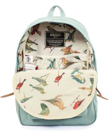 I like the bird interior! Good road trip bag - Herschel Supply backpack: