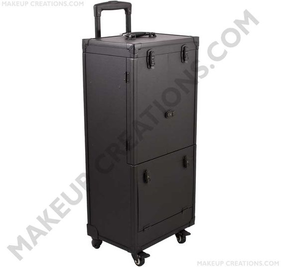 The Ultimate in Professional 4-Wheel Rolling Beauty Cases. A first ever in its class! This heavy duty industrial style Beauty case is the solution! Specially designed for the Pro Hair Stylist looking for a place to put it all! This is our tallest and largest hair stylist case, reaching 38 inches tall! Not including the 42 inch Rolling Cart handle! This Durable case is equipped to hold 2 Blow Dryers, curling irons and flat irons all while plugged in! Trays come with specially designed holes…