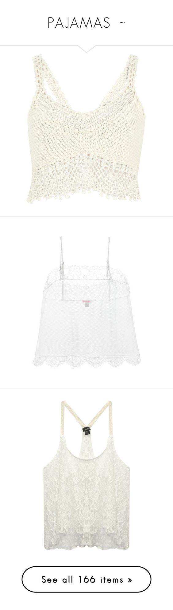 """""""PAJAMAS  ~"""" by kuropirate on Polyvore featuring tops, crop tops, shirts, bralet, tank tops, knitwear, sale, white, women and holiday tops"""