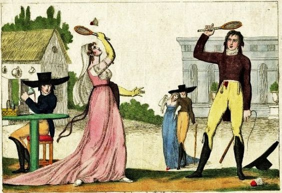 Published by Aaron Martinet a fashionable couple play with a shuttlecock, watched by a couple and a man drinking at a table. c.1802 Battledore was originally the name given to a wooden bat used for beating clothes during washing in England.: