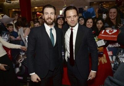 Chris Evans and Sebastian Stan at the European Premiere of Captain America Civil War April 26, 2016
