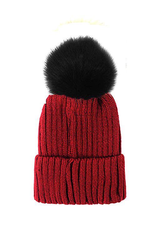 Fox Fur Pom Pom Beanie, Vintage Knit Hat - Burgundy ...