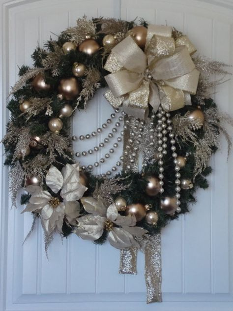 Antique Gold and Champagne Wreath by Terrilynne123D on Etsy, $140.00