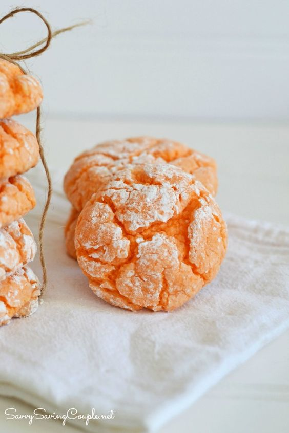 Orange Burst Crinkle Cookies-Made with Cake Mix!