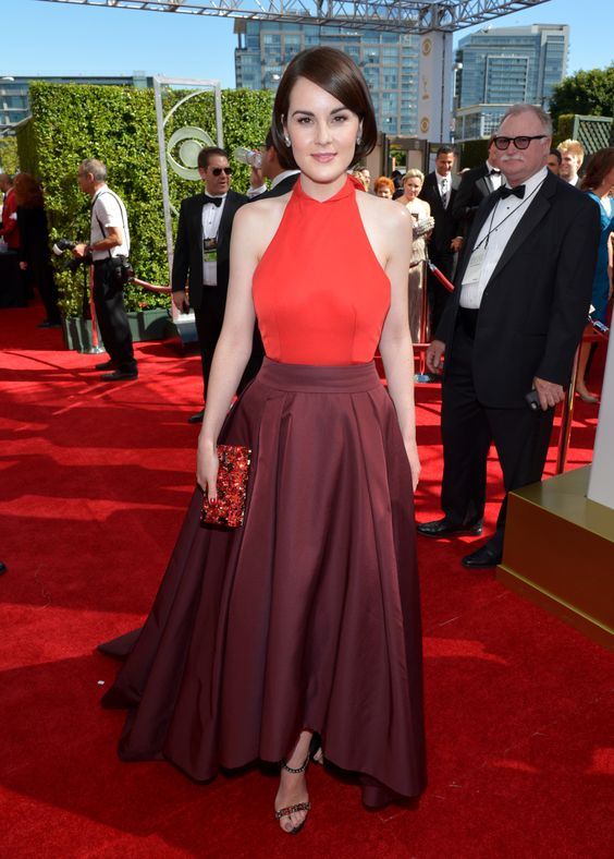 Downtown Abbey's Michelle Dockery in a puce skirt at the 2013 Emmy Awards Red Carpet Arrivals