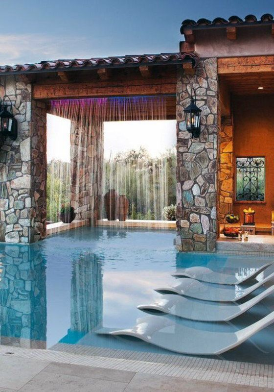 Home Swimming Pool With Waterfall From Rooftop Pool Houses Backyard Pool Swimming Pool House