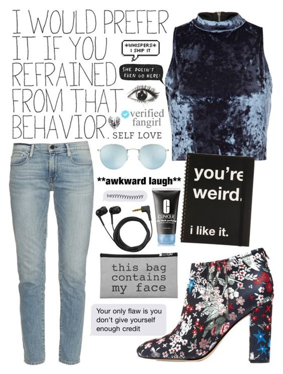 """""""500 FOLLOWERS!?! (Read Description)"""" by hershyeststylist ❤ liked on Polyvore featuring River Island, Sam Edelman, Frame Denim, Clinique, Ray-Ban, Sennheiser and Paul Brodie"""