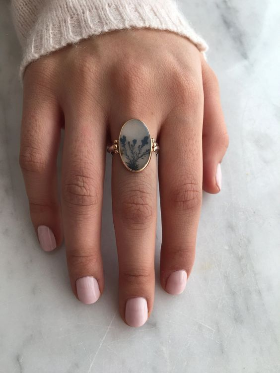 OVAL DENDRITIC AGATE RING #statementrings