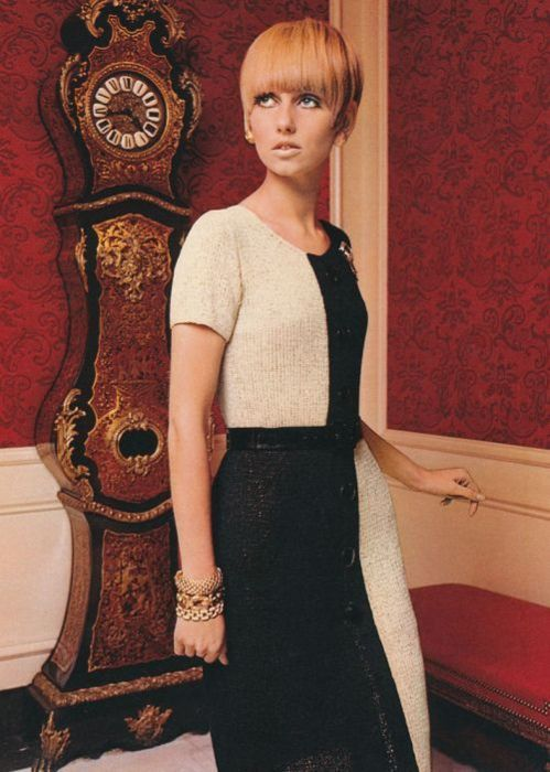 1960s knotted dress, fashion, monochrome