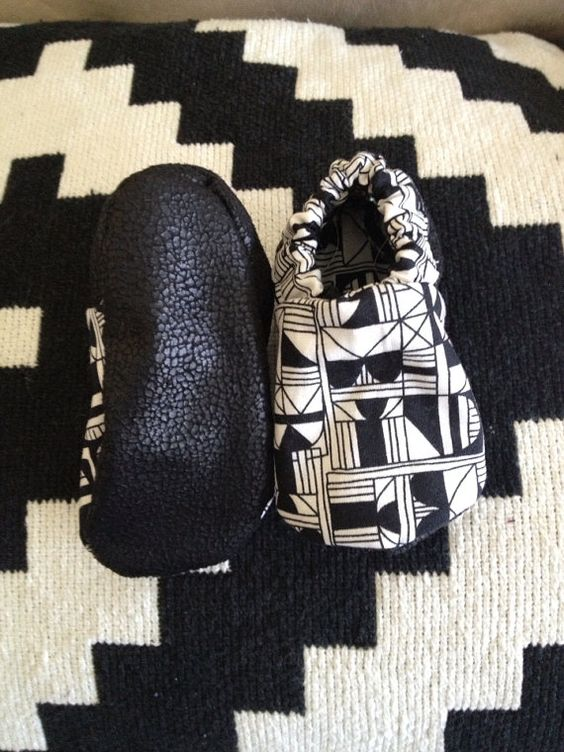Baby Booties Robeez style Black and white Geo by forrestandfawn, $17.50