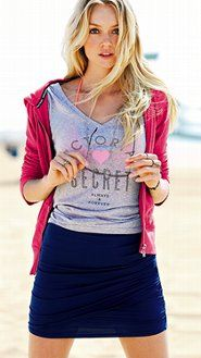 The Surf Chick. V neck statement tee in soft gray matched with soft cotton skirt and hot pink hoodie makes for a super cute comfy beach babe look. Supermodel Essentials by Victoria's Secret.