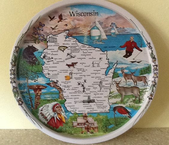 Wisconsin Souvenir Metal Tray by ContemporaryVintage on Etsy, $20.00