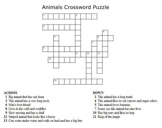 Print Your Animals Crossword
